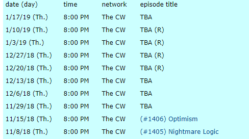episode schedule